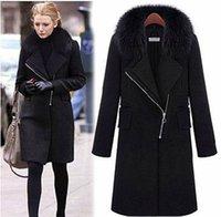 Wholesale European fashion in the long section of wool collar woolen jacket woolen coat women jacket plus size xl xl