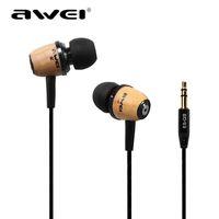 Wholesale 2016 Hot Original AWEI Q9 Super Bass Wooden mm in ear earphone headphones Headset for Smartphone