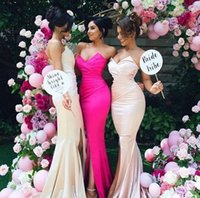 Cheap Sweetheart Mermaid Lovely Bridesmaid Dresses 2016 Latest Sexy Side Split Maid of Honor Dress Custom made Wedding Party Gown