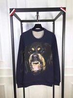 2016 Мода бренд одежды Мужчины Свитера синий Ротвейлер собака печатающая головка вскользь пуловер Мужчины хлопка хип-хоп мужские Свитера