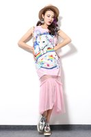 bell patch - Unicorn patch summer new color printing net yarn stitching round neck sequin dress pink cotton gauze woman