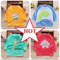 apron lot pocket - 10pcs per on sale Home Textiles New Baby s long sleeve waterproof crystal velvet bib pocket style kitchen waist apron