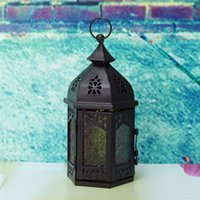 Wholesale Vintage Hollow Candle Holder Glass Candlestick Moroccan Garden Holder Table Hanging Lantern Fine for Home Wedding Party Decor