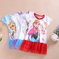 Wholesale 2016 Hot colors frozen Elsa Anna dress Pajamas Dress girls baby children kids clothes blue cosplay Princess Dress Vest Dress Epacket b0023