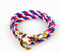 Wholesale Fashionable ornaments hand string of navy wind winding weaving ancient gold plated bracelet DIY anchor multilayer bracelet