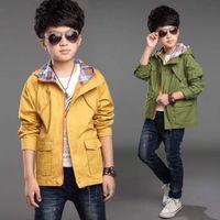 Wholesale Brand New Fashion Boys Trench Coat Cotton Korean Children Clothing Hoodie Ourterwear Child Windbreaker For Teen T T