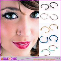 Wholesale 2 Colors Nose Hoop Nose Rings Studs Stainless Steel Body Piercing Jewelry Body Jewelry