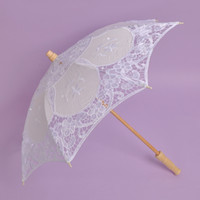 Wholesale New lace parasols Classical wedding parasol Fancy bridal accessories bamboo handmade high quality colors