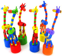 Wholesale Wooden educational toys wooden rocking animals rock spring barrel thumb giraffe baby wooden toys birthday gift creative toys