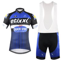 Wholesale 2016 New Etixx Quick Step Cycling Jerseys Set Short Sleeve Man Summer Set With White Bib None Bib Breathable Quick Dry Cycling Clothes