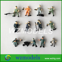 Wholesale Scale Models People - 25pcs ho scale model railway workers action architecture model people train layout work figures