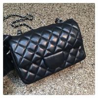 Cheap 2016 Famous Brand Women Genuine Leather Handbag Original Quality Small Classic CF Fashion Flap Bag Lambskin Chain Plaid Bag 20cm 13 Color