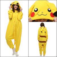 adult sleepsuit - Soft Adult Unisex Animal Pyjamas Costume Cosplay Flannel Sleepsuit Adult Cartoon Pikachu Pajamas Pyjamas Cosplay halloween Costumes