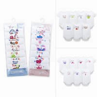 baby weekly - Newborn Girls Boys weekly cotton Romper Week per pack High Quality Cotton White Baby cartoon jumpsuits