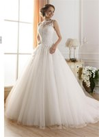 Wholesale 9036 lace White Ivory A Line Wedding Dresses for bride gown Appliques Vintage plus size maxi Customer made size W