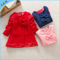 Wholesale Shop Kids Clothing Winter - Fashion Winter-Autumn Girls Dresses Kids Clothing Dress online shopping with bow and lace cotton fabric free shipping