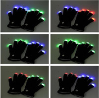 big fingers - Flash Color changing LED Glove Rave light led finger light gloves light up glove For Party favor music concert DHL free