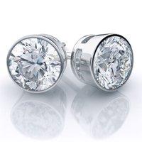 bezel set diamond earrings - 2 F SI Certified Diamond Studs Earrings Bezel Setting k White Gold
