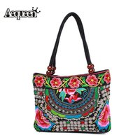 Wholesale National Women Handbags Ethnic Embroidery Peony Flower Shoulder Bags Handmade Floral Embroidered Lady Totes Shopping Bolsas