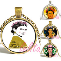 art thanksgiving - New Fashion Glass Cabochon Necklace Sliver bronze Art Frida Kahlo pendant necklace for women gift