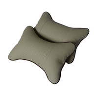 Wholesale 2 High Quality Car Pillow Perforating Design Danny leather Hole digging Car Headrest Supplies Neck Auto Safety Pillow
