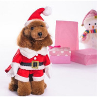 Wholesale ONE PIECE Santa Claus Dog Costume Pet Cat Coat Winter Clothes Christmas Apparel Cotton Clothing for dogs ropa para perros