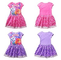 Wholesale 2016 Girls Dresses Puppy Dog Paw Short Sleeve Cartoon Dresses Dog Patrol Girls Summer Tutu Princess Party Dresses Kids Clothes Via DHL