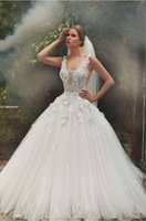 Wholesale Sadek Majed Dreamy Wedding Dresses Scoop Lace Appliques With Pearls Detail On The Tulle Bridal Gowns CBGX