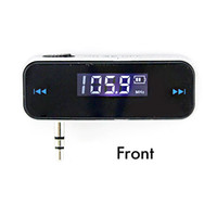 Wholesale 3 mm Mini Car FM Transmitter Kit Music FM With USB Cable Screen for Mobile Phones BLACK
