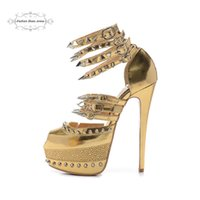 Wholesale Size Women s cm High Heels Gold Genuine Leather With Spikes Rhinestone Red Bottom Sandals Ladies New Fashion Ankle Wrap Party Shoes