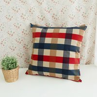 Wholesale 3 Color Cotton Continental Lattice Pillowcase Cushion Cover Pillow Covers Square Shape Sofa Bed Decorative Pillow Covers Without Insert