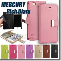 bag leather cases - For Iphone Case Mercury Rich Diary Wallet PU Leather For Note7 Case TPU Cover with Card Slots Side Pocket For Galaxy S7 LS775 In OPP Bag
