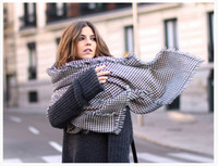 air yarn - Female air conditioning large cape dual black and white houndstooth scarf ultralarge yarn female long thick