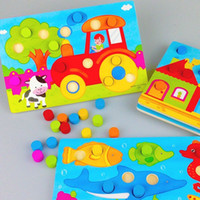 Wholesale Baby Toys Mushroom Colour Matching Plate Wooden Toys Cartoon Animal Puzzle Educational Acknowledge Children Toys Birthday Gift