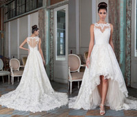 Wholesale charming high low wedding dresses sheer bateau Justin alexander vestido de noiva lace buttons heart shaped back bridal gowns