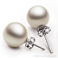 Wholesale Hot sterling silver pearl jewelry romantic charm simple mm pearl ball earrings