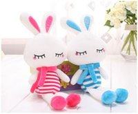 Wholesale explosion models fashion beauty plush rabbit toys CM stripe squinting LOVE rabbit doll wedding doll Grapple
