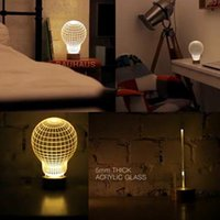 Wholesale 220V W Chic Creative D Led Lamp Three dimensional Night Lights Bedroom Reading Light Newly Popular Festival Xmas Gift