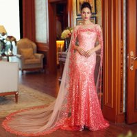 beaded evening shawls - Hot Sale Exclusive Designer Mermaid Crystal Shawl Dubai Kaftan Muslim Evening Dress Zhair Murad Evening Gowns Long Robe De Soiree