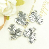 Wholesale diy jewelry findings for gloves charms vintage silver plated metal pendants mm