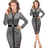 Wholesale Knee Length Long Sleeve Plaids Pencil Dress Vestidos Trending Fashion Bodycon Business Office Work Business Dresses for Women