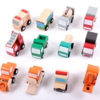 Cheap X003 12 pcs wooden car model toy ambulance forklift truck bus police truck educational toys garbage truck car fire for children