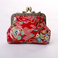 Wholesale Vintage Floral Coin Purse for Girls Animal Print Cotton Fabric Mini Lady Coin Bags with Card Hold