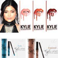 Wholesale Kylie Jenner Lipstick Kit Lip gloss matte lipsticks Lasting makeup colors Brand non stick cup labial line set lipstick lipliner color