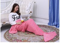 Wholesale New Yarn Knitted Wrap Super Soft Sleeping Bags Mermaid Tail Blanket Handmade Crochet Mermaid Blanket Adult Throw Bed CM