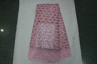 Wholesale yards Latest guipure lace nigerian lace fabrics pink french tulle guipure cord lace material with stones