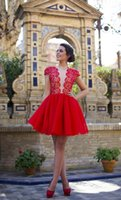 Wholesale Elegant Lace Homecoming Dresses Sheer Deep V Neck Hollow Back Short Graduation Dress Short Sleeve Waltercollection Red Carpet Party Gowns