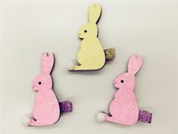 baby with tails - Retail pk Pink Yellow Fashon Cute Glitter Rabbit with Pom Pom Tail Girls Hairpins Baby Hair Accessories