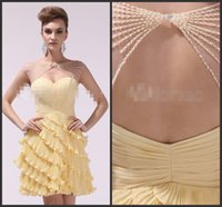 beautiful unique dresses - Cute Yellow Party Dresses Bateau Neck Open Back Beadings Iullsion Neck Sexy Back Tiered Skirts Mini Dress Unique Style Beautiful Homecoming