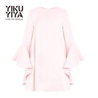 Wholesale YIKUYIYA New Fashion Summer Dress Cute Casual Loose Commuting Frill A line Dress Flare Sleeve Crew Neck Pullover Mini Dress